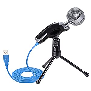 USB Microphone, PChero Professional Condenser Sound Podcast Studio Mic Microphone For Mac Laptop PC Computer, Perfect for Recording Singing Podcasting speech instruments - [Black]