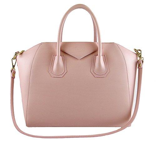 borsa da donna tipo GIVENCHY in vera pelle manifattura fiorentina (rosa)