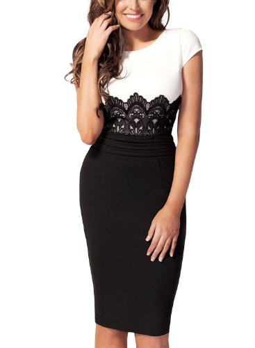 Miusol Women'S Cap Sleeves Contrast Embroidered Lace Waist Bodycon Dress