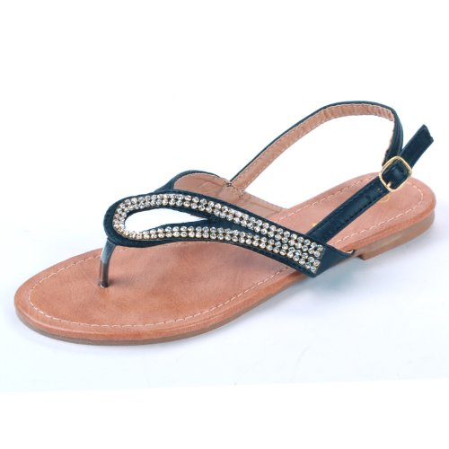 Luo Luo Womens Black Dress Rhinestone Sandals 8.5 M Us