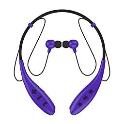 SoundPEATS Bluetooth Headset Neckband Sports Bluetooth Running Headphones Stereo Earbuds with Mic (10 Hours Play Time, Bluetooth 4.1, Noise Cancelling, Sweatproof) Q800 - Purple