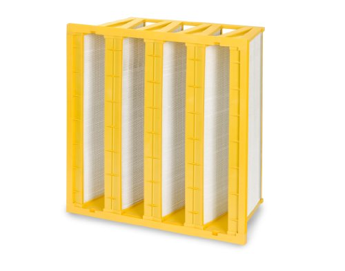 "Filtration Group 40046-P FP 4V Mini-Pleat Air Filter, Wet Laid Micro-Fiberglass, Yellow/White, 15 MERV, 193 square feet of media, 24"" Height x 24"" Width x 12"" Depth (Case of 1)"