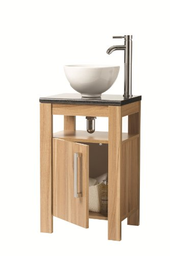 FOCUS Chloe 450mm Light Walnut Vanity Bathroom / Cloakroom Unit with Ceramic Sink