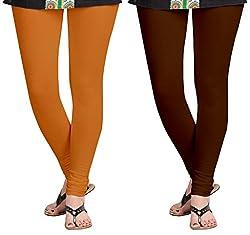 Aannie Women's Cotton Slim Fit Leggings Combo Pack of 2(X-Large,Soil Red,Dark Brown)