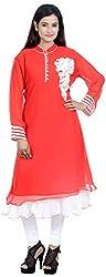 Amafhh Women's Georgette Regular Fit Kurta (amfkr7546red, Red, XX-Large)