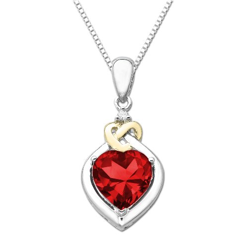 XPY Sterling Silver and 14k Yellow Gold Diamond and Heart-Shaped Created Ruby Pendant Necklace (0.01cttw, I-J Color, I3 Clarity), 18