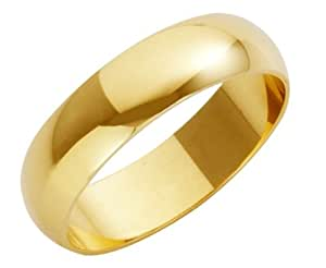 Theia 18ct Heavy D Shape Wedding Ring - 5 mm, Yellow Gold, Size L