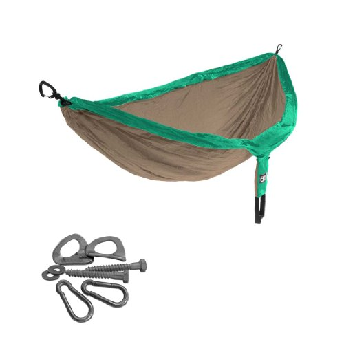 ENO Double Nest Hammock with Indoor Hanging Kit (Emerald Green / Khaki)