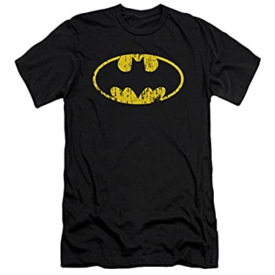 DC Batman Classic Logo Distressed Slim Fit T-Shirt