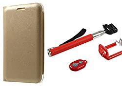 Novo Style Samsung Galaxy Star Advance G350E Premium PU Leather Quality Golden Flip Cover + Selfie Stick with Adjustable Phone Holder and Bluetooth Wireless Remote Shutter