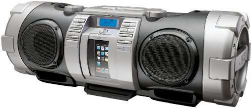 JVC RV-NB70S Powered iPod/iPhone Dock Woofer Speaker System with connection for MP3/Mic/CD and Guitar - Silver