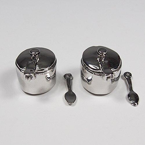 1:12 2Pcs Stainless Steel Coffee Tea Pot Salt Sugar Sauces Spoon Miniature--Big