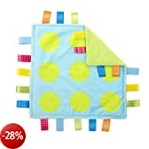 Taggies 9131 - Coperta morbida Little Taggies Polka Dot, con 20 passanti Taggies originali, double face, a pois, colore: Azzurro