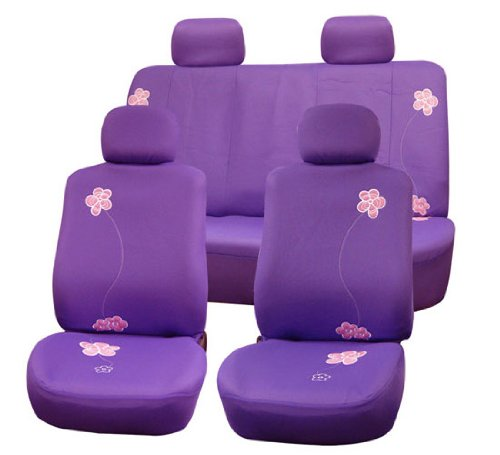 Fh-Fb053-1114 Floral Embroidery Design Car Seat Covers, Airbag Ready And Split Bnech, Purple Color