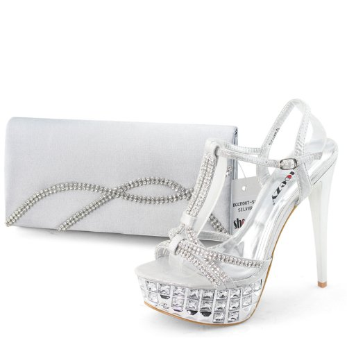 Shoezy Designer Women Silver Rhinestone Platform Prom High Shoes Matching Evening Bag Clutch