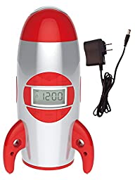 Big Red Rooster BRRC100AC Rocket Ship Projection Alarm Clock, Operates On 3 C Batteries (Not…
