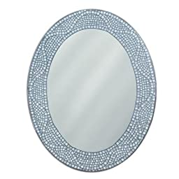 Deco Mirror 8179 23 in. x 29 in. Frameless Ready to Hang Opal Mosaic Oval Mirror