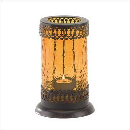 Gifts & Decor Standing Amber Glass Moroccan Lantern Candle Holder