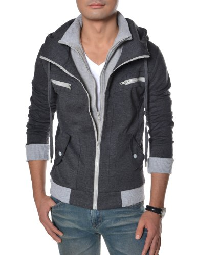 TheLees (LCJ10) Slim Fit Double Zipper Hood Cotton