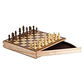 "StealStreet SS-CQG-2142 Cream and Brown 14"" Sector Chess Set Recreational Game with a Drawer"
