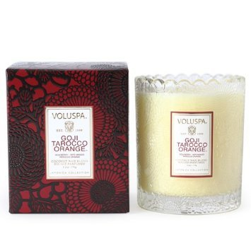 Voluspa Goji Tarocco Orange Glass Scalloped Edge Candle 6.2 oz