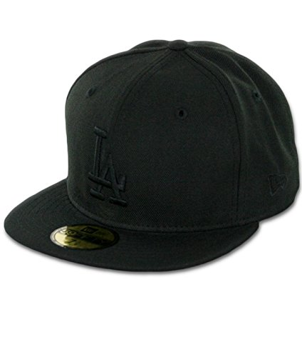 MLB Los Angeles Dodgers Black on Black 59FIFTY Fitted Cap, 7 1/2 (Cap Mlb New Era compare prices)