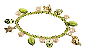 """Vermeil Aquatic Charms and Champagne Freshwater Cultured Pearl Green Bracelet, 7"""""""