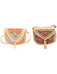 Aryan Exports Girls' Sling Bag (Multi-Colour, Set Of 2, Abc_823)