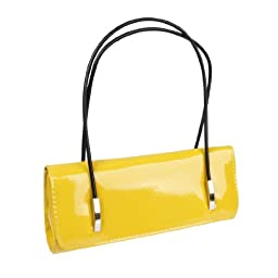 BMC Womens Synthetic Patent Leather Evening Clutch w/ Black Cord Shoulder Straps - CITRON YELLOW