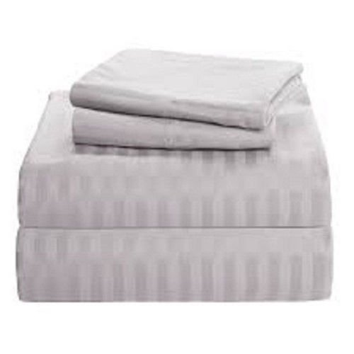 Grey Stripe Egyptian Cotton 300Tc Queen Size Pocket Depth 8 Inch Bed Sheet Set 6Pcs