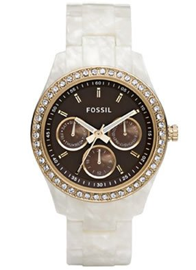 Fossil Stella Resin Watch – Pearlized with Gold-Tone