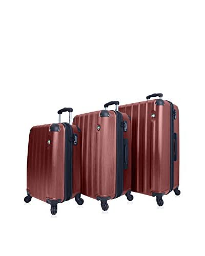 Mia Toro 3-Piece Lega Spazzolato Hardside Spinner Luggage Set, Burgundy