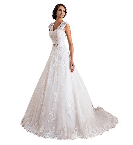 TBB Double V-neck Sleeveless Lace applique And Satin A-line Wedding Dress (White) (12)