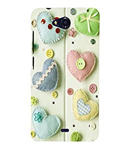 printtech Hearts Buttons Back Case Cover for MicromaxBolt Q335