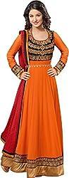 Fashion Hub Women's georgette dress material orange (rk_099)