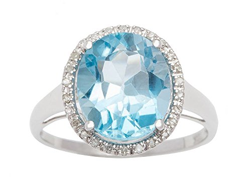 10k White Gold Oval 5.20ct Blue Topaz and Diamond Halo Ring (G-H, I1-I2)