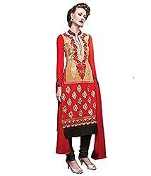 Om Creation orange Embroidered santoon Salwar Suit HS33