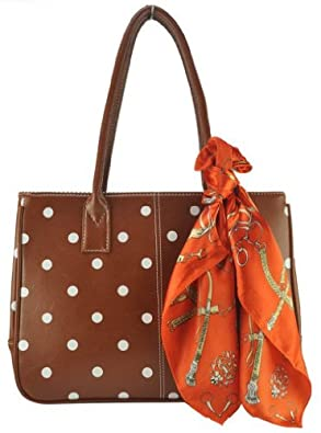 Women Fashion Polka Dot Print Zip Bag PU Leather Tote Bags With Scarf