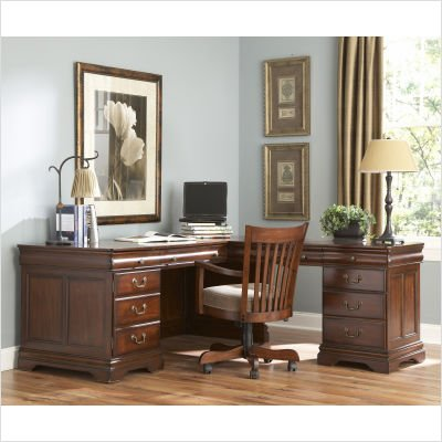 Buy Low Price Comfortable Riverside Furniture 75025 / 75026 Versailles 68″ W L-Shaped Computer Desk with Hutch in New Castle Cherry (B000XT365Y)