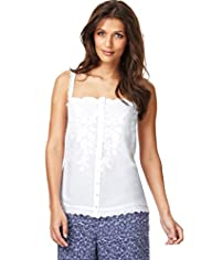 Indigo Collection Floral Embroidery Scallop Trim Camisole Top