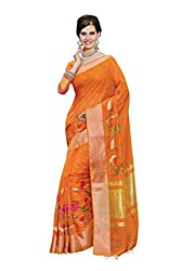 Laethnic mustard embroidered chanderi saree