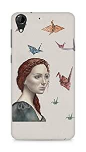 Amez designer printed 3d premium high quality back case cover for HTC Desire 728 (Paper birds)