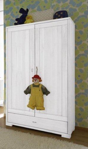 Kleiderschrank-Schrank-Kinderzimmerschrank-Kiefer-massiv-Farbewei-prov-lackiert