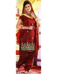 Exotic India Garnet-Red Bridal Salwar Kameez With Crewel Embroidere - Garnet-Red