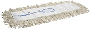 "Impact 17524 4 Ply Cotton Looped-End Traditional Dust Mop with Polyester Backing, 24"" Length x 5"" Width, White (Case of 12)"