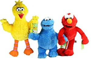 Barrio Sésamo - Lote de 3 peluches (Elmo, la gallina Caponata y el monstruo de las galletas, 35,5 cm)