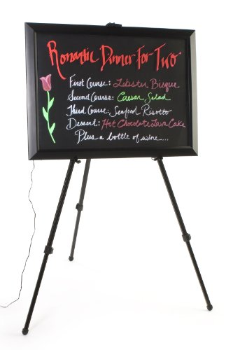 Led Writing Board For Wet-Erase Markers, Includes Floor Easel And 6 Fluorescent Liquid Chalk Markers, 13 Different Flashing Effects, Black