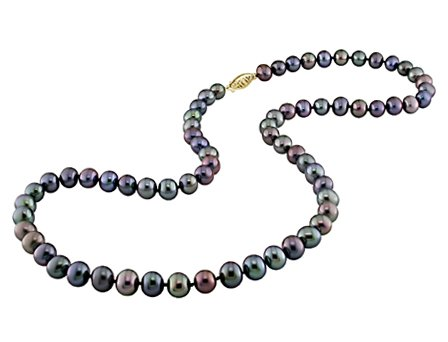 14K White Gold Off-round Freshwater Black Pearls Necklace