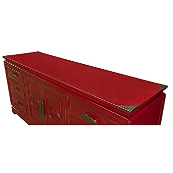 China Furniture Online Elmwood Sideboard, Zen Longevity Design Cabinet Distressed Red Finish