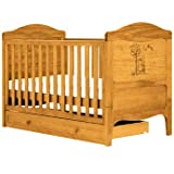 Delightful Winnie The Pooh Cotbed in Antique Finish - Cleva Edition ChildSAFE Door Stopz Bundle